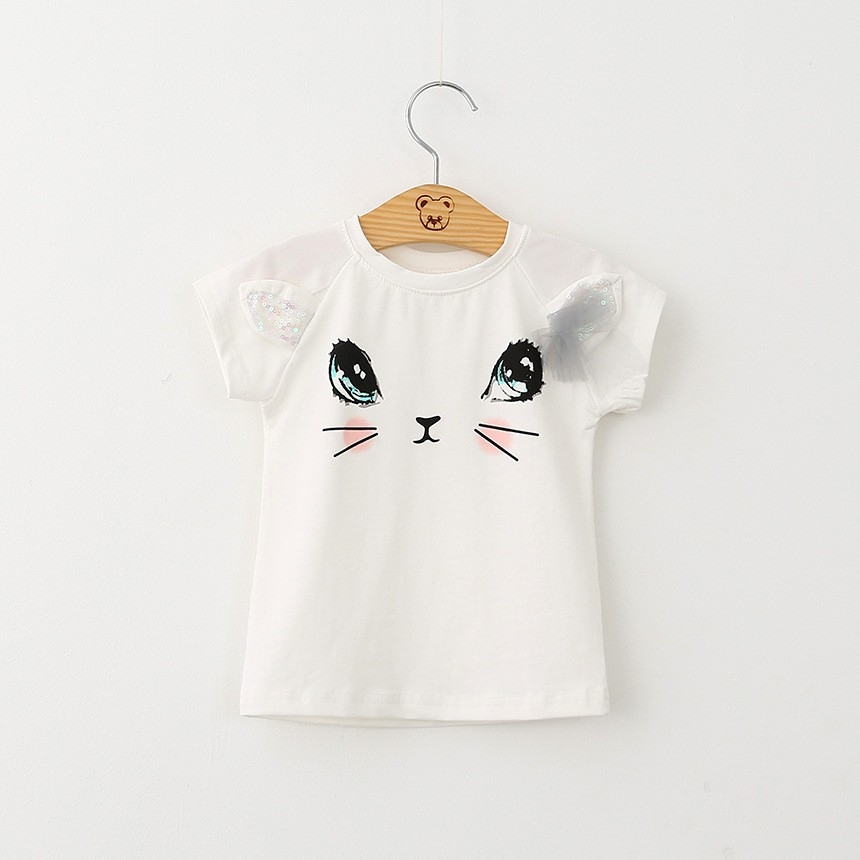 Bear Leader Girls Clothing Sets New Summer Fashion Style Cartoon Kitten Printed T-Shirts+Net Veil Dress 2Pcs Girls Clothes Sets 36