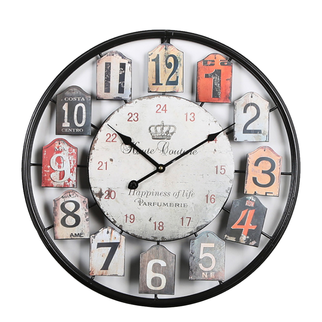 Hot 50cm Unique Style Large Wall Clock Vintage Retro Metal Round Shape Roman Numbers Mute Wall Clocks For Living Room Home Decor