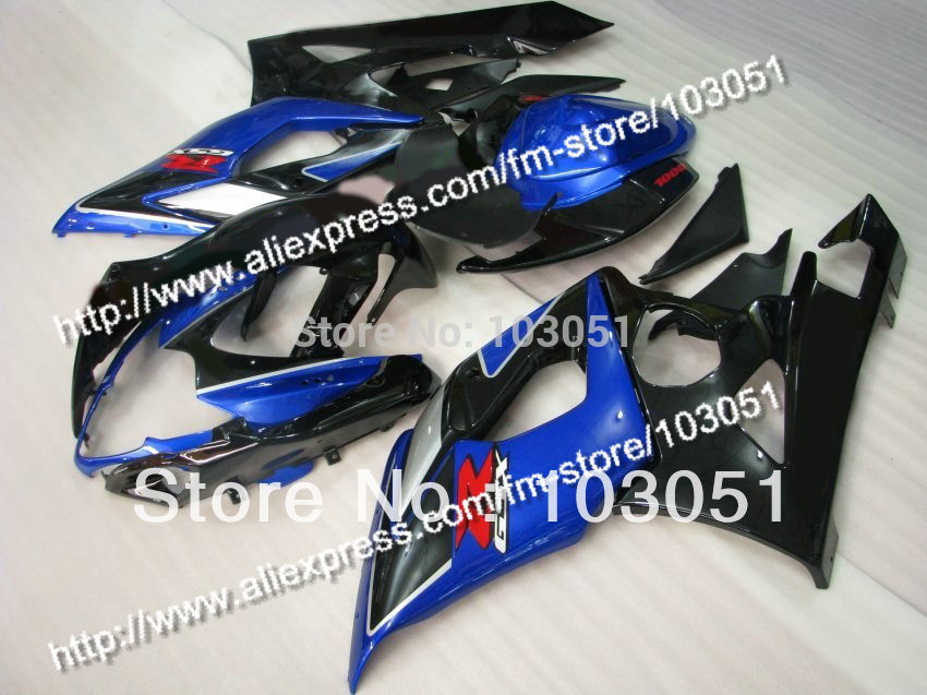 Injection molding custom for 2005 suzuki gsxr 1000 fairings K5 2006 GSXR 1000 fairing 05 06 glossy black with dark blue Dw11 custom road fairing kits for suzuki glossy flat black 2006 gsxr 1000 k5 2005 gsx r1000 06 05 motorcycle fairings kit