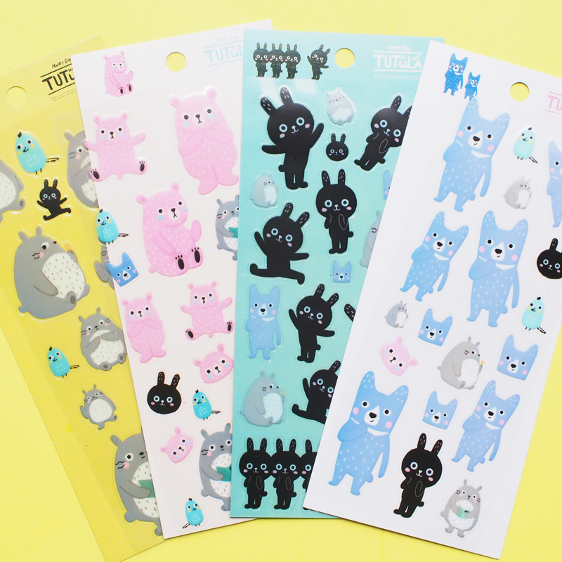W59 1 Sheet Cute Kawaii Totoro Tutula Waterproof Adhesive Stickers Stick Label DIY Decorative Stickers Diary Phone Bottle Decor наматрасники candide наматрасник водонепроницаемый waterproof fitted sheet 60x120 см