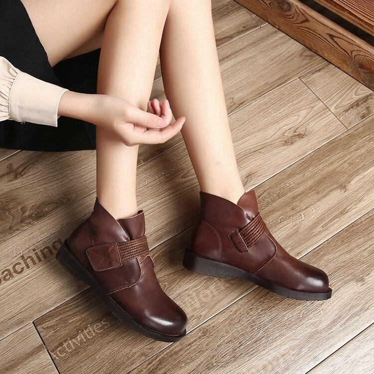 on Stiefeletten Damenmode Slip Schuhe Handgefertigte Retro S Marke NPkX8n0wO