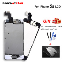 All Test Work LCD For iPhone 5S A1533 A1453 A1457 Touch Screen Digitizer Assembly display 5s Front Camera+Home Button+Speaker