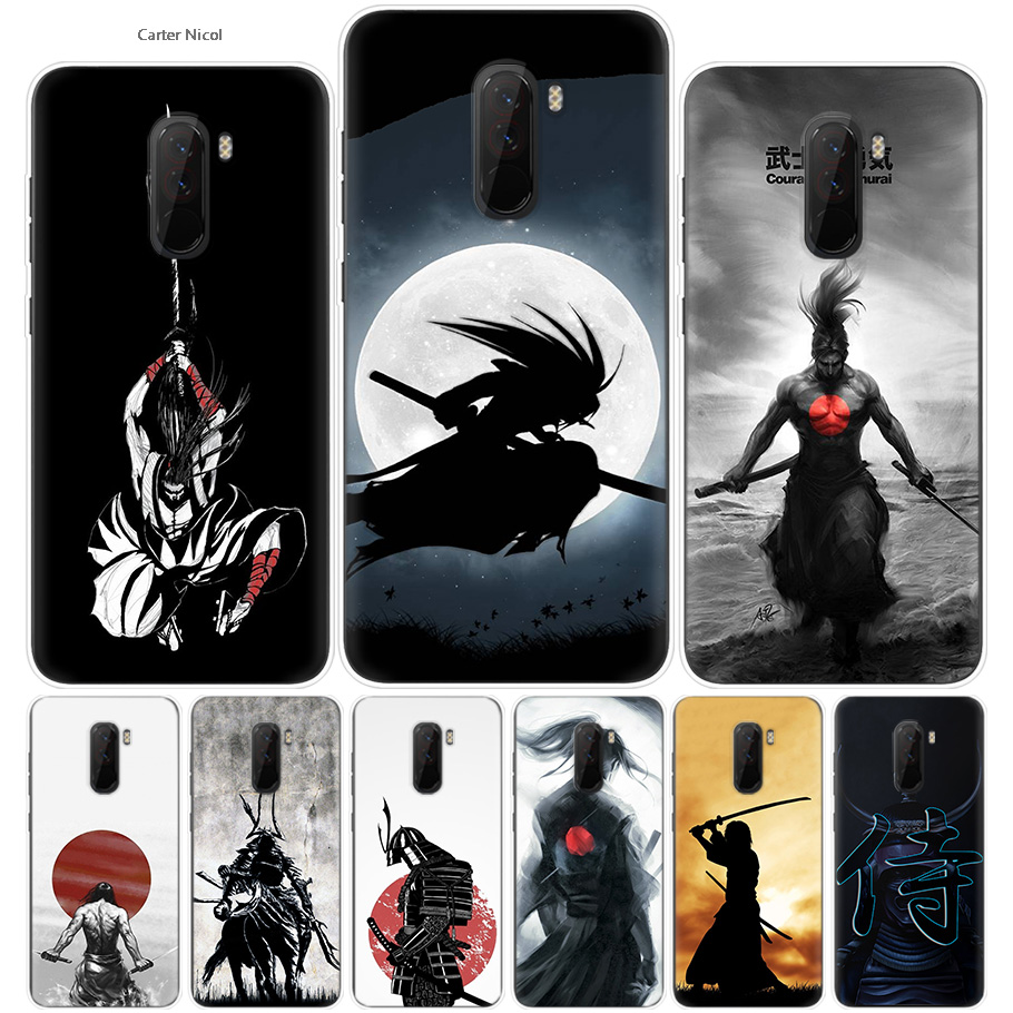 Japanese Samurai Silicone Phone Cases Cover Ultra Thin Pattern Shell for Pocophone Xiaomi Redmi Poco F1 6.18 Inch