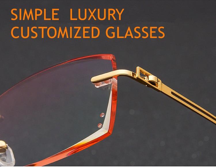 6ff88980c3 2019 Titanium Eyeglasses Men Rimless Prescription Reading ...