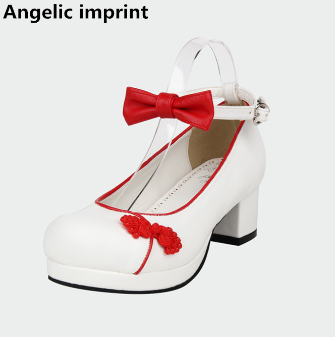 Talons Femme Angélique Fille 47 Robe Mi Mori 33 Lolita National Cosplay White Princesse Style Empreinte Lady Pompes Femmes Chaussures Simples wxPqpxA