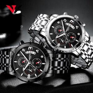 Image 4 - Nibosi relógio de pulso masculino, relógio de marca de luxo top para homens, esporte militar, à prova d água, aço inoxidável, cronógrafo, 2018