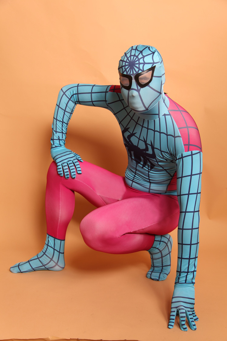 (D2-009)Top-high Quality Unisex Adult <font><b>Full</b></font> <font><b>Body</b></font> <font><b>Red</b></font> <font><b>and</b></font> <font><b>blue</b></font> <font><b>Lycra</b></font> Spandex Superhero <font><b>Spiderman</b></font> <font><b>Zentai</b></font> Suits Halloween Costume