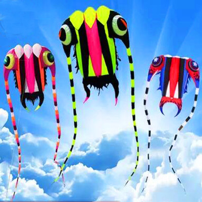 free shipping high quality 3square meters trilobites kite with line ripstop kite factory large kite reel soft octopus kite show цена 2017