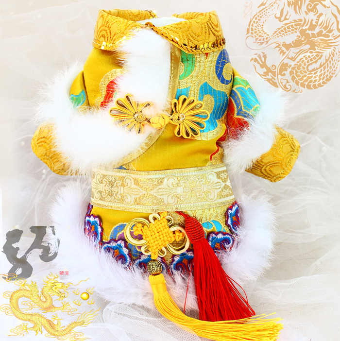 Free shipping handmade employed by the emperor propitious cloud damask flower Chinese style fur dog coat winter pet clothes