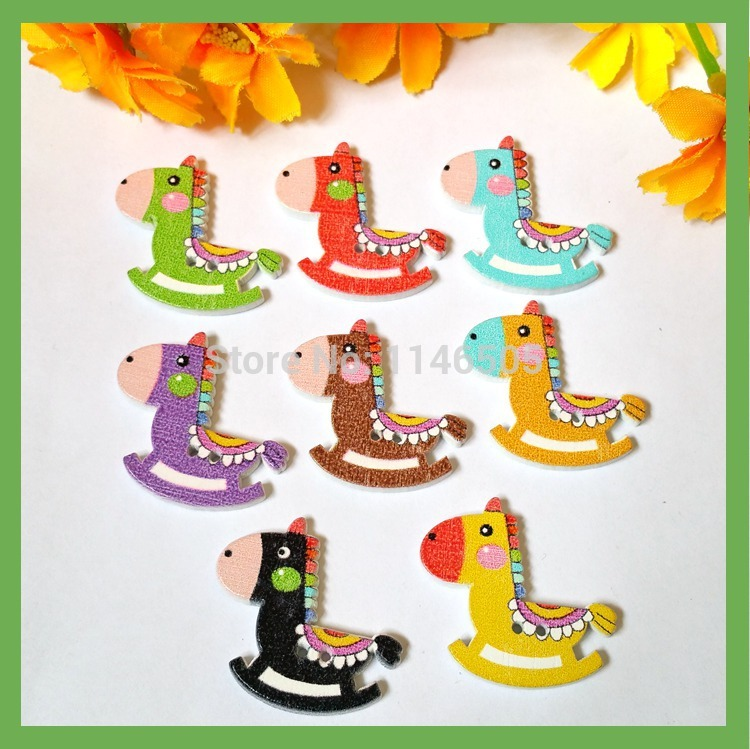 150pcs 2 Holes Mixed Color Horse Wooden Buttons For Sewing Craft Scrapbooking 28mm*29mm Sewing Accessories para artesanato