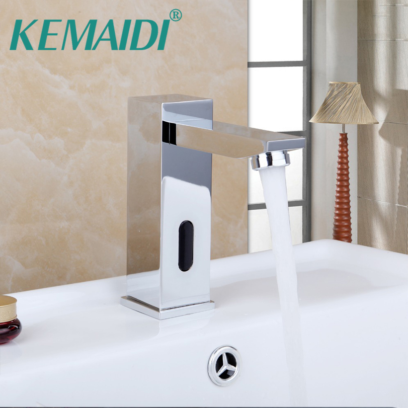 KEMAIDI Bathroom Automatic Hands Touch Free Sensor Basin Chrome Brass Sink Mixer Tap Faucets,Mixer Auto-Sensor Faucet SF-08 chrome lavatory bathroom faucet wall mounted sensor faucet automatic hands free touch sensor bathroom sink tap faucet