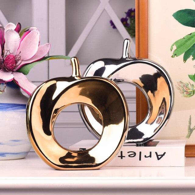 Artes abstratas Galvaniza Cerâmica Maçã Artesanato Geométrica Criativo Maçã Ornamento Home Decor Decoração Do Casamento de Prata de Ouro