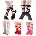 Non Slip Skid Toeless Grip Socks with Silk Ribbon for Women & Girl Black Barre Pilates Exercise Half Toe Low Cut Co
