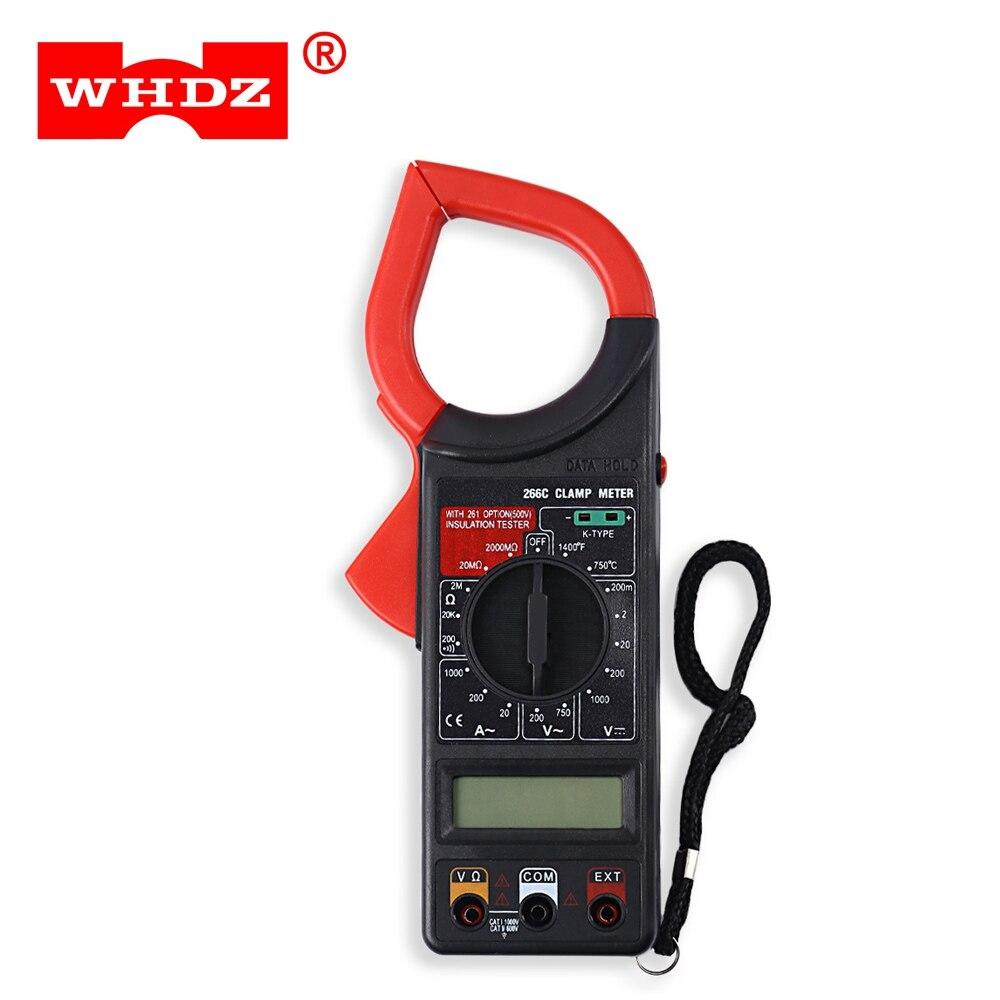 Whdz 266c цифровой клещи цифровой мультиметр AC DC Тесты инструмент Авто Диапазон мультиметр Температура Емкость