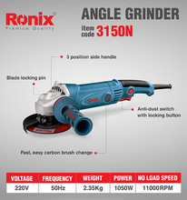 Ronix 220V 115mm 1050W 3M cable length Angle Grinder Hot selling Machine Model 3150N