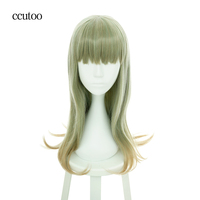 Ccutoo 26inch Green Mix Ombre Curly Long Synthetic Hairstyles Cosplay Full Wigs Peluca Halloween Party Costume