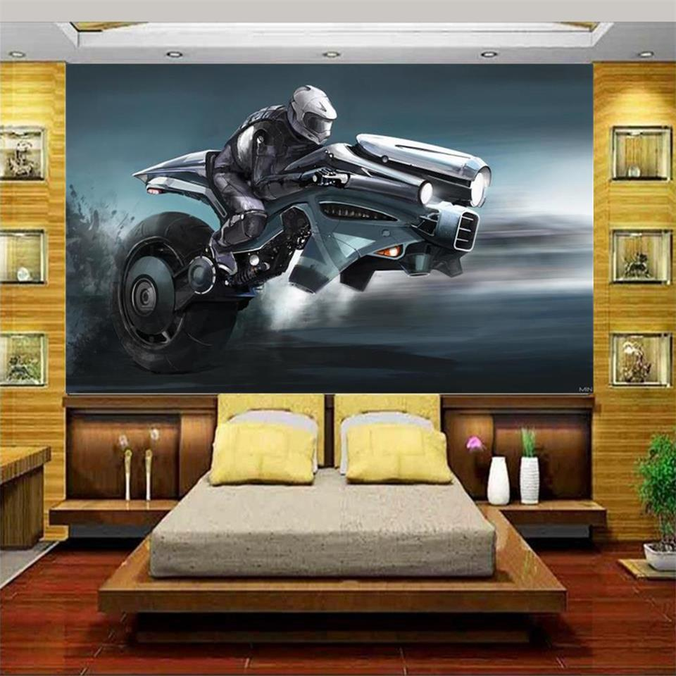 Custom mural wallpaper bed room 3d photo wallpaper motorcycle racer painting kids room sofa TV background wall non-woven sticker 3d room wallpaper custom mural non woven wall sticker tree trunk 3d printed bedroom tv wall painting photo wallpaper for walls