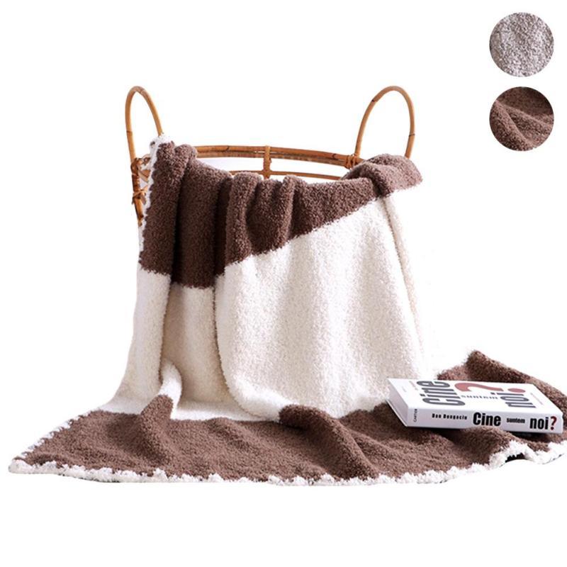 Скандинавский Одеяло зимние теплые мягкие полиэстер Одеяло s двойной слой бросить на диван кровать плоскости покрывала хаки домашний текст...