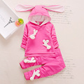 Newest 2017 Spring Baby Girls Suits Hooded Cartoon Rabbit T Shirt+Pants 2 Pcs Infant Cotton Clothes Sets Kids Children Suits