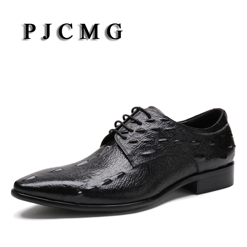 PJCMG New Fashion Comfortable Genuine Leather Lace-Up Pointed Toe Crocodile Pattern Flat Man Casual Classic Gentleman Shoes front lace up casual ankle boots autumn vintage brown new booties flat genuine leather suede shoes round toe fall female fashion
