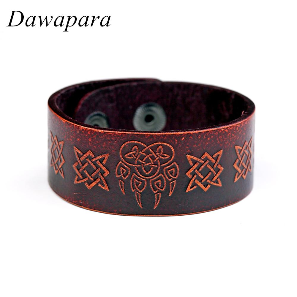 Dawapara Slavic Genuine Leather Bracelet Bangle Square Irish Knot Wristband Dark Brown Pulseira Masculina Men Religious Jewelry genuine leather unisex wristband bracelet w 4pcs hemp cords brown 5 pcs