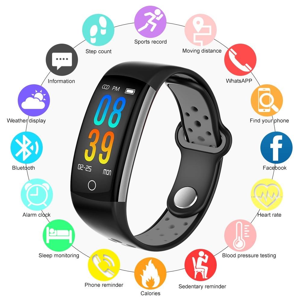 Hangrui Q6 Smart Bracelet Coeur Taux Tracker Bracelet Couleur LCD Écran Tactile Montre Smart Watch Bande PK Miband 3 Fitness Tracker