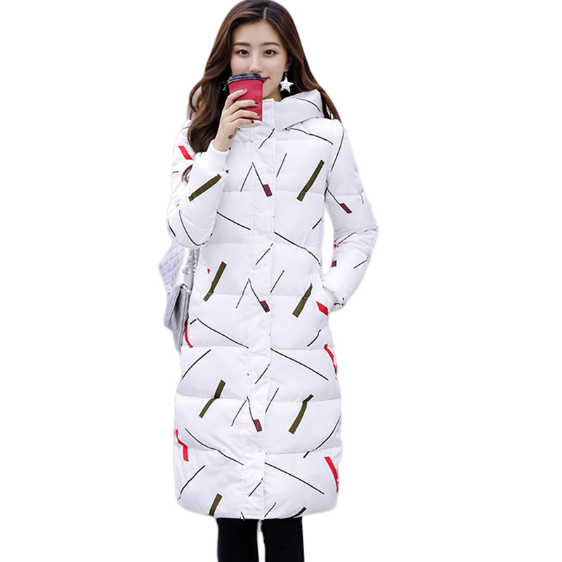 2019 New Winter Down Cotton Jacket Coat Female   Parka   Thick Warm Hooded Printed Long Outerwear Plus Size 3XL Women Clothing CM546