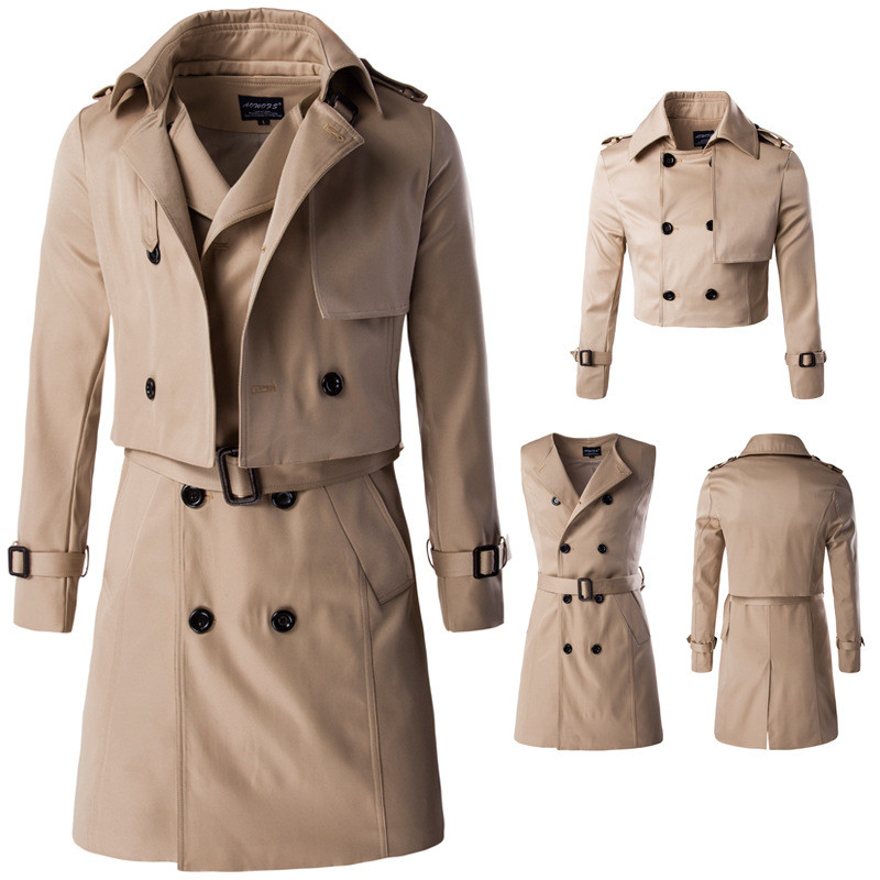MORUANCLE Men's Long Trench Coat Business Windbreaker For Male Double Breasted Classic Pea Coat Outerwear With Belt Two Pieces