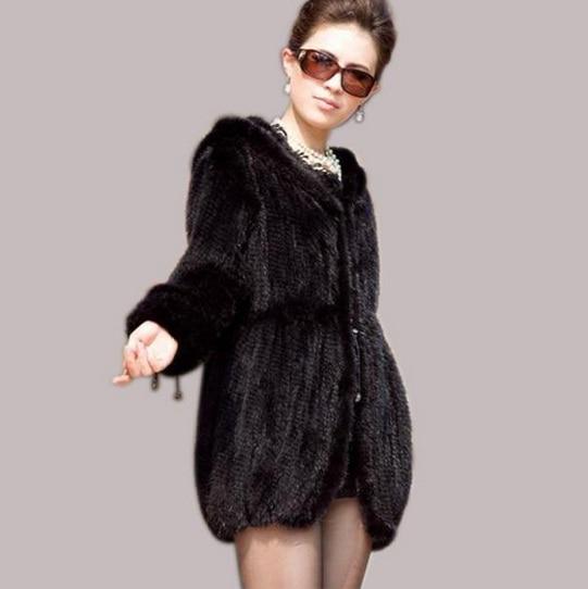 Femmes De Avec Manteau Coffee Livraison Gratuite Veste Fourrure Capuche Plus Hiver Gilets Nouveau noir Vison Tricoté La H283 Taille XEqwxTt0