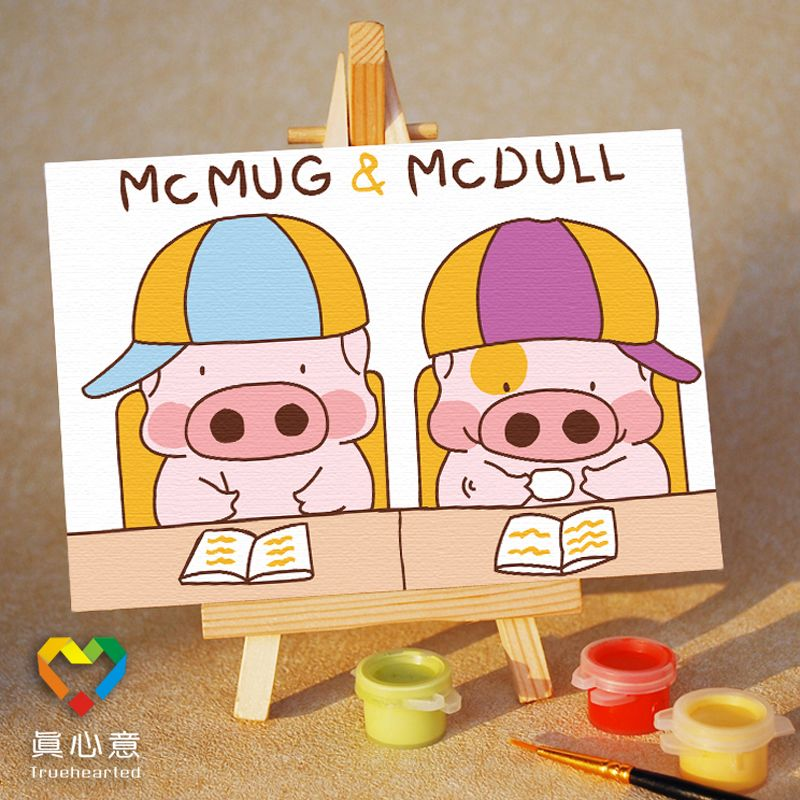 Colored drawing diy digital oil painting MINNIE cartoon child painting 10 15 belt easel