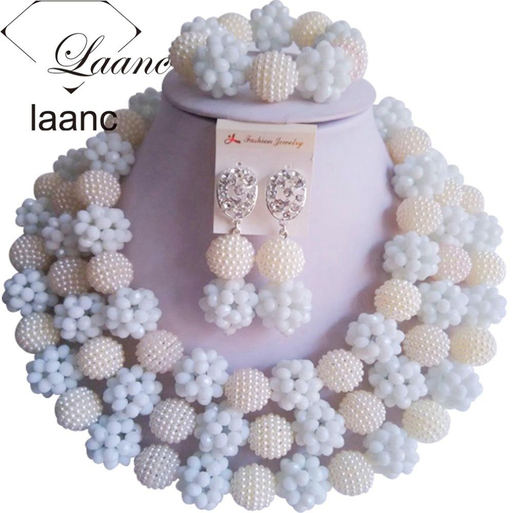 African Wedding Bridal Costume Jewelry Sets Crystal White 2017 Nigerian Beads AL079African Wedding Bridal Costume Jewelry Sets Crystal White 2017 Nigerian Beads AL079
