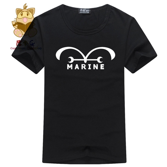 One piece fans anime tee shirt high quality one piece MARINE logo ...
