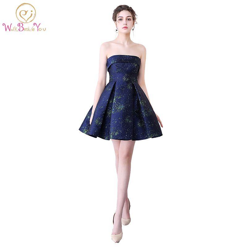 Walk Beside You vestido de novia 2018 vestido corto elegante de fiesta Strapless A-line Satin Cocktail Dresses Short Prom Gowns
