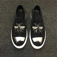 European Real Leather Embroidery Bees Mens Studded Shoes Lazy Shoes Casual Loafers Creepers Shinny Man Dress