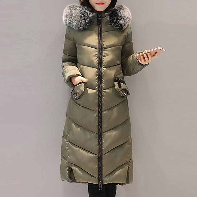 Для женщин зимние теплые длинные пальто Тонкий пальто с капюшоном меховой воротник карман на молнии женские парки Плюс Размеры 3XL Повседнев...
