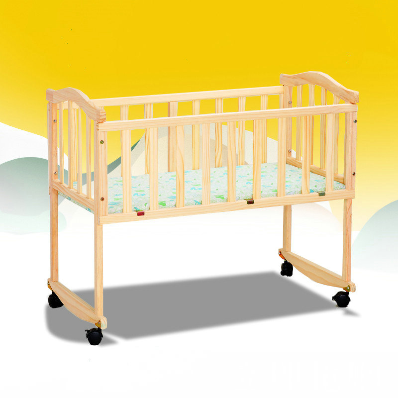 Beedome 4 wheels baby bed with mosquito net, can change to rocking bed, pine baby crib, can change to learning desk baby bed curtain kamimi children room decoration crib netting baby tent cotton hung dome baby mosquito net photography props