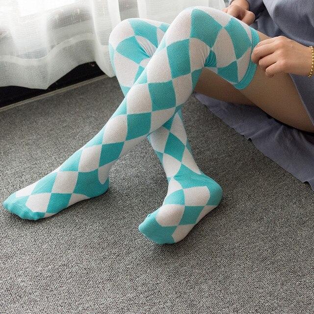 85cb54cca5c Anime Lolita Girls Stripe Thigh Plaid Stockings Over Knee kawaii Square  Cute Japanese Cosplay Costume Cotton Socks