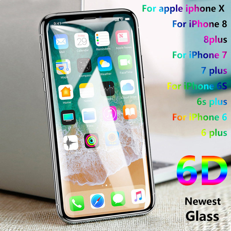 YUETUO 6D Curved protection screen protector Tempered Glass on the for iPhone x 6 7 8 s 6s 10 plus 6plus 7plus 8plus Film 3d 5d