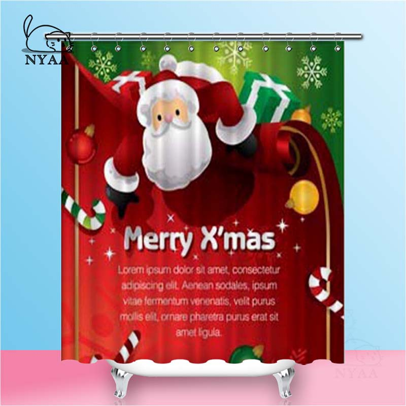 Nyaa Santa Shower Curtains Present Waterproof Polyester Fabric Bathroom Curtains For Home Decor