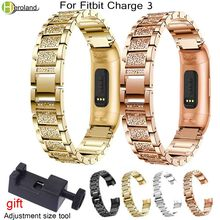 New Fashion Luxury Watch Band Bands for Fitbit Charge 3Crystal Metal Bracelets Replacement Adjustable Straps For Charge3