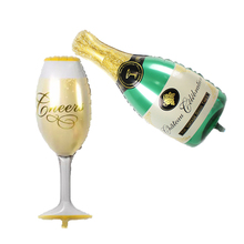 L HAHA PARTY 2pcs/lot Foil Balloon New Champagne Cup Beer Bottle Balloons 1 cup 1 bottle Children Toys Party New Year Decoration