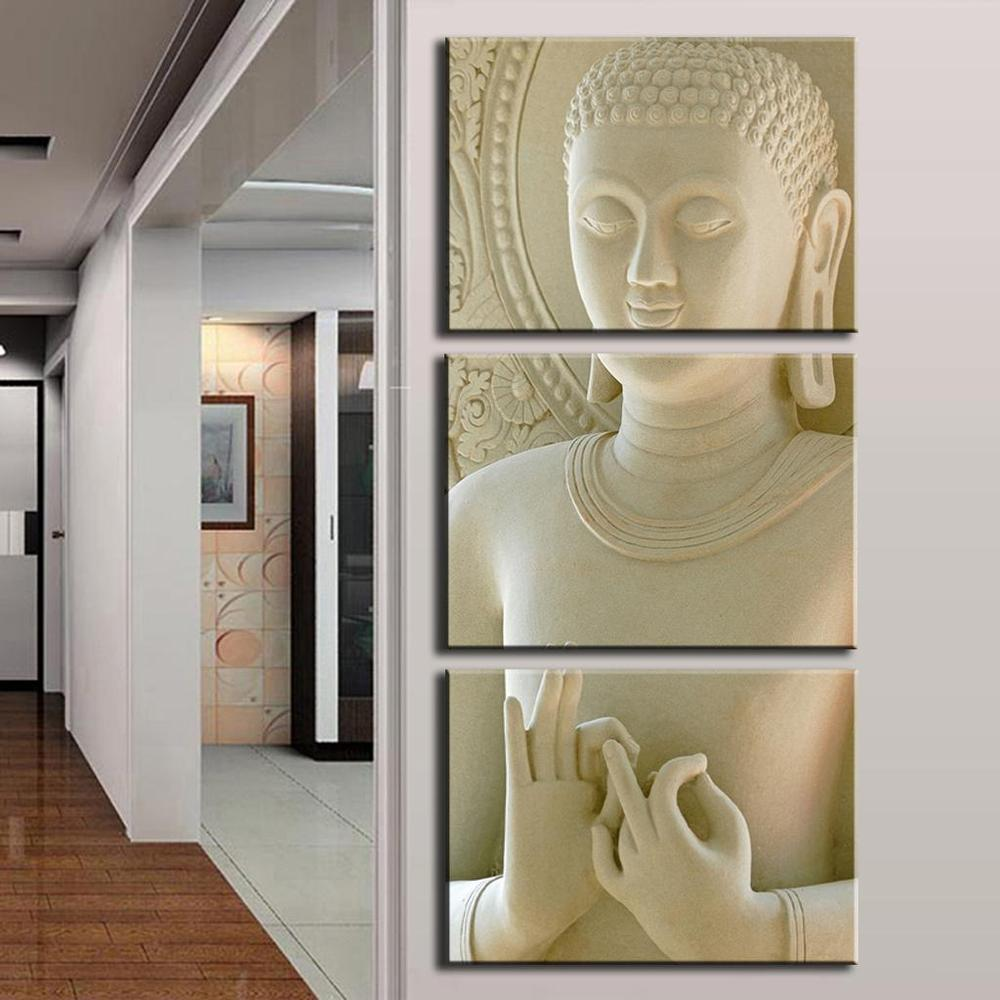 Modern Fashion Buddha Painting 3 Picture Home Decoration White Marble Buddha Statues Art Canvas Painting By