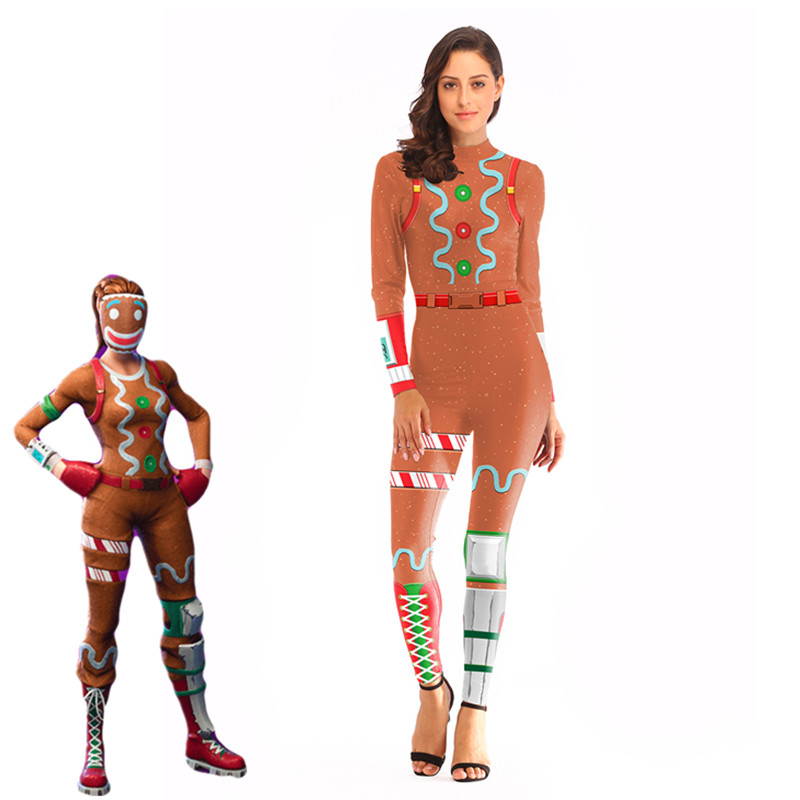 Ginger Gunner Sexy orange Costume Women clothing set Adult Halloween Carnival Costumes Fantasia Battle Royale Fancy clothes set