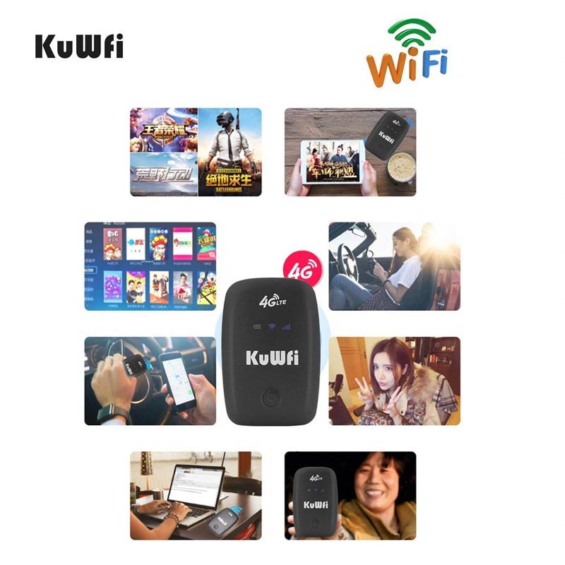 Image 5 - KuWFi разблокированный 4G LTE мобильный wi fi роутер портативный 3g/4G Wifi роутер с слотом для sim карты поддерживает LTE FDD B1/B3/B5-in 3G/4G маршрутизаторы from Компьютер и офис