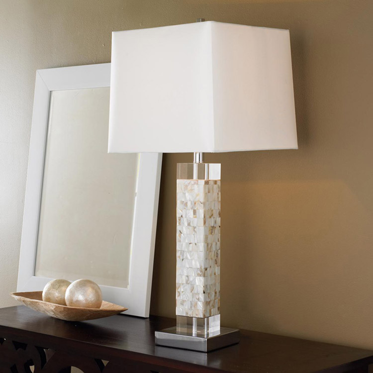 A1 American white shell art Fritillaria bed bedroom living room crystal square bedside Table lamp LO8128