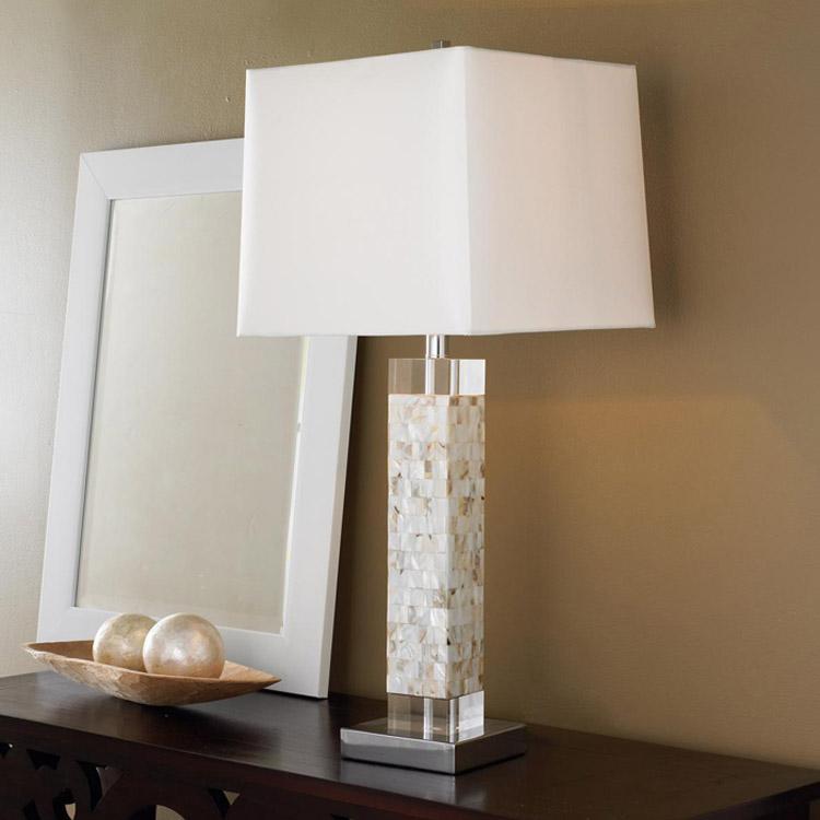 blanco americano arte shell fritillaria cama dormitorio mesita de noche lmpara de saln de cristal cuadrado lo