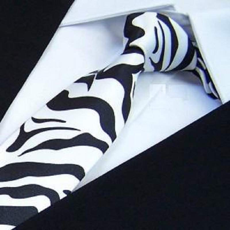 HOOYI 2019 fashion Slim Ties Skinny Tie check Men's necktie narrow Polyester Stripe zebra Print neckties