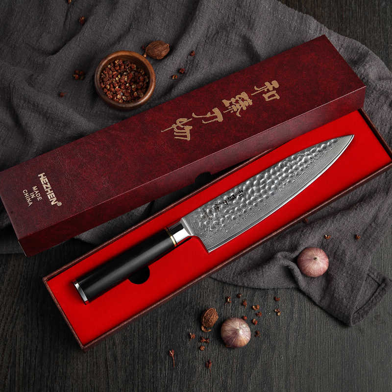 HEZHEN 8 in Pro Chef's Knife VG 10 Japanese Damascus Steel High Quality Kitchen Knife Brand Santoku Knives Premium Ebony Handle