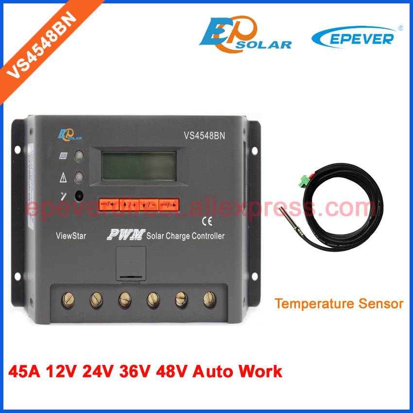 Solar power bank controller VS4548BN 45A 45amp PWM LCD display with temperature sensor 12v 24v 36v 48v vs4548bn 45a 24 48v auto pwm controller network access computer control can connect with mt50 for communication