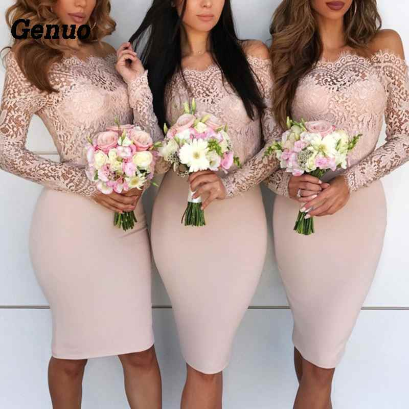 d6dbb0b420c05 Genuo Women Formal Bandage Bodycon Dress Casual Long Sleeve Party Lace Mini  Dress Wedding bridesmaid Gown Boho Elegant vestido